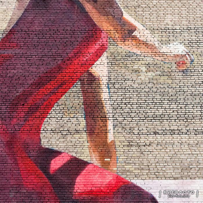 Мурал з дівчиною в червоній сукні на вулиці В. Липківського